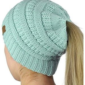 4762d0d2151da C.C Accessories - NWOT C.C Messy Bun Beanie Tail Hat in Mint
